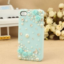 New Bling Crystal Sparkle Blue Roses Pearls Rhinestones iPhone Case