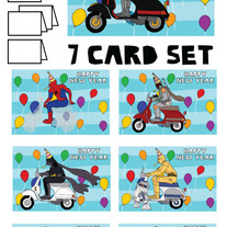 On Vespa New Year 7 card set