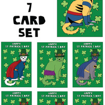 Cats dressed as comics St patricks 7 card set