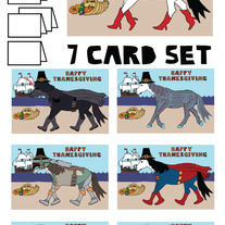 Unicorns Thanksgiving 7 card set