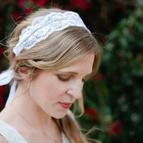 Soft and Sparkling: Lace and Rhinestone - Bridal Tie Headband or Sash