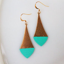 Pointed Turquoise Color Dipped Brass Dangle Earrings