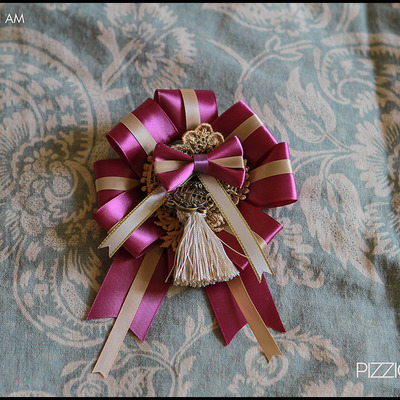 Grand rosette (two-way) - fuchsia and gold