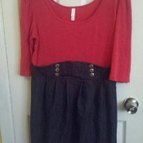 Xhiliration Pink and Jean Sailor Dress