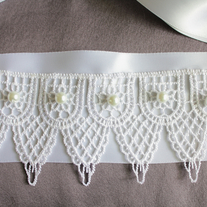 Bridal Sash with Lace and Pearls  - Thumbnail 2