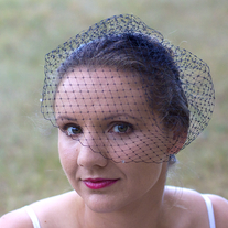 Black Birdcage Veil with Smoke Swarovski Crystals  - Thumbnail 1