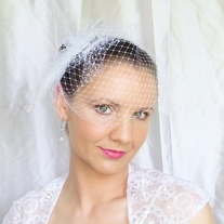 Snow White Bridal Veil Fascinator - Thumbnail 3