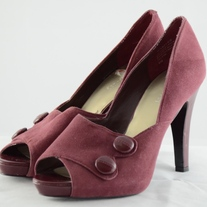 Nine West Burgundy Swede Platform Heels