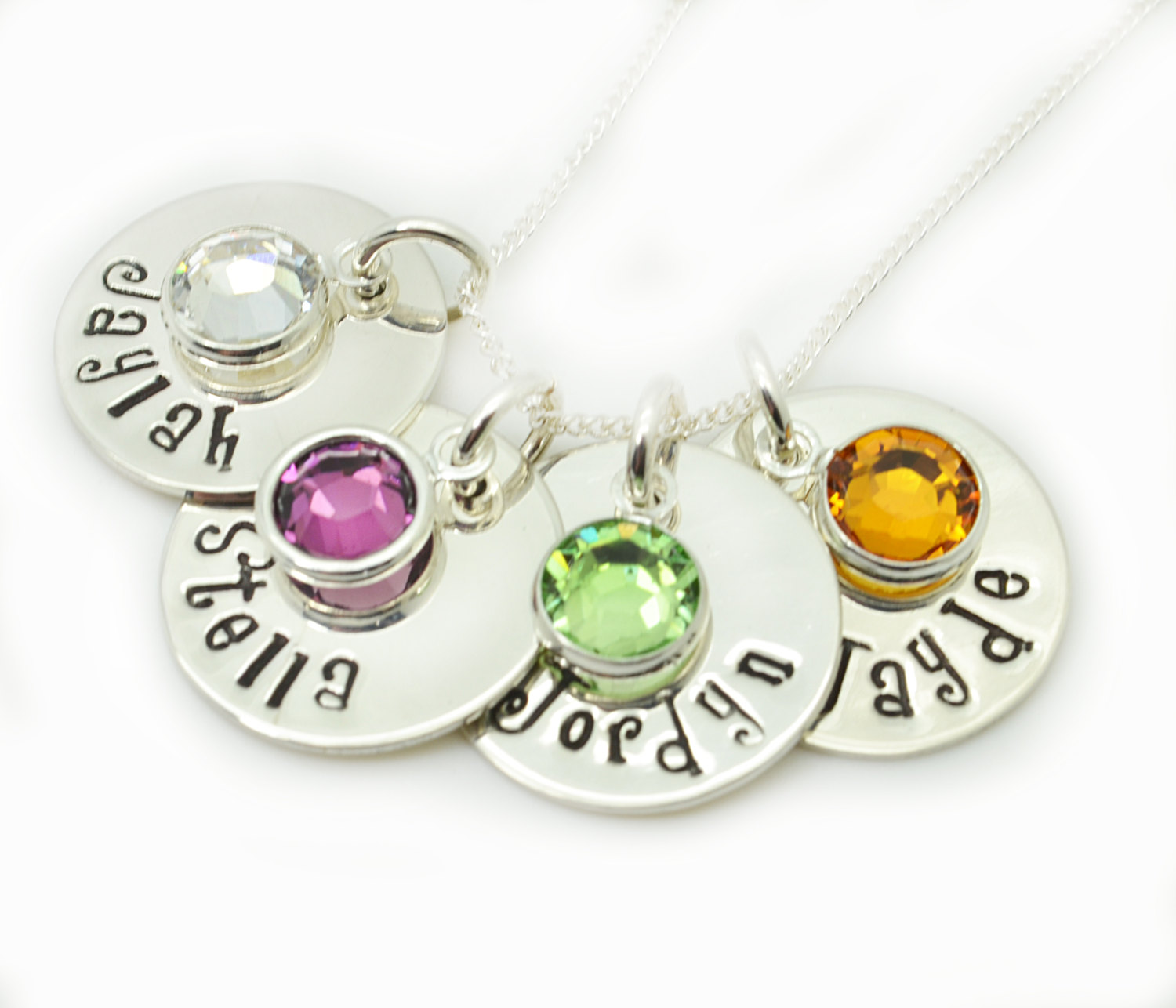 personalized birthstone necklace hand stamped mothers