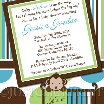 Mod monkey boys green teal baby shower invitation printable just mod monkey boys green teal baby shower invitation printable just click print online store powered by storenvy filmwisefo