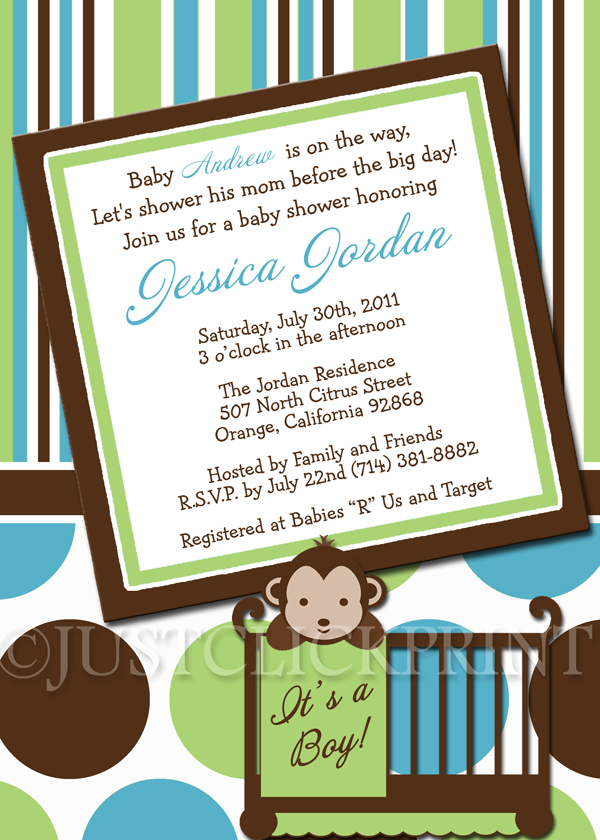 Mod Monkey Boys Green Teal Baby Shower Invitation Printable · Just ...