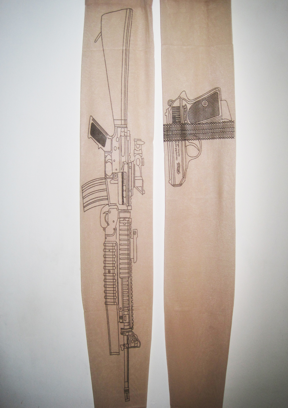 Gun Pattern Tights Machine Gun Tattoo Tights on