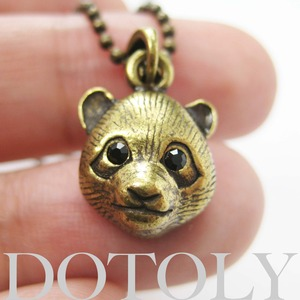 SALE - Baby Panda Teddy Bear Animal Charm Necklace in Bronze