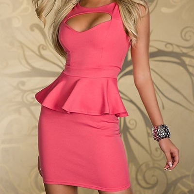 Sexy cut-out peplum dress (3 colors available)