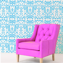 Ikat Peacock Modern Wall Damask Allover Designer Pattern Stencil better than wallpaper or vinyl decals Home Decor