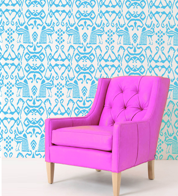 Ikat Peacock Modern Wall Damask Allover Designer Pattern Stencil Better Than Wallpaper Or Vinyl Decals Home