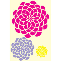 Bold Blossom Kit Small Large XLarge Zinnia Flower Designer Pattern Stencil for Walls Decor