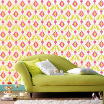 IKAT ptint Allover Designer Pattern Wall Stencil Home Decor