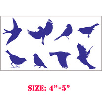 Set of 8 Birds DIY Sparrow Wall Sky celling Designer Pattern Stencil Home Decor