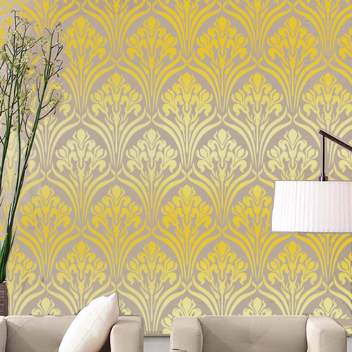 nouveau water lily damask designer pattern wall stencil walls decor