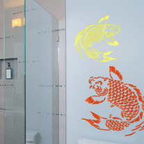 Koi Oriantal Asian Decor Fish Pattern Wall Stencil