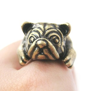 Detailed Pug Bulldog Puppy Dog Adjustable Animal Ring in Brass