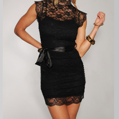 High neck mini lace dress