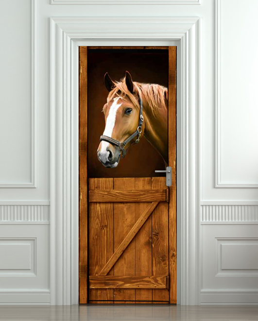 Wall door sticker horse barn stable stall mural decole for Door wall mural