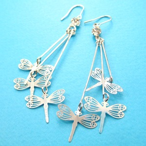 Long Dragonfly Shaped Dangle Earrings in Silver With Cut Out Details