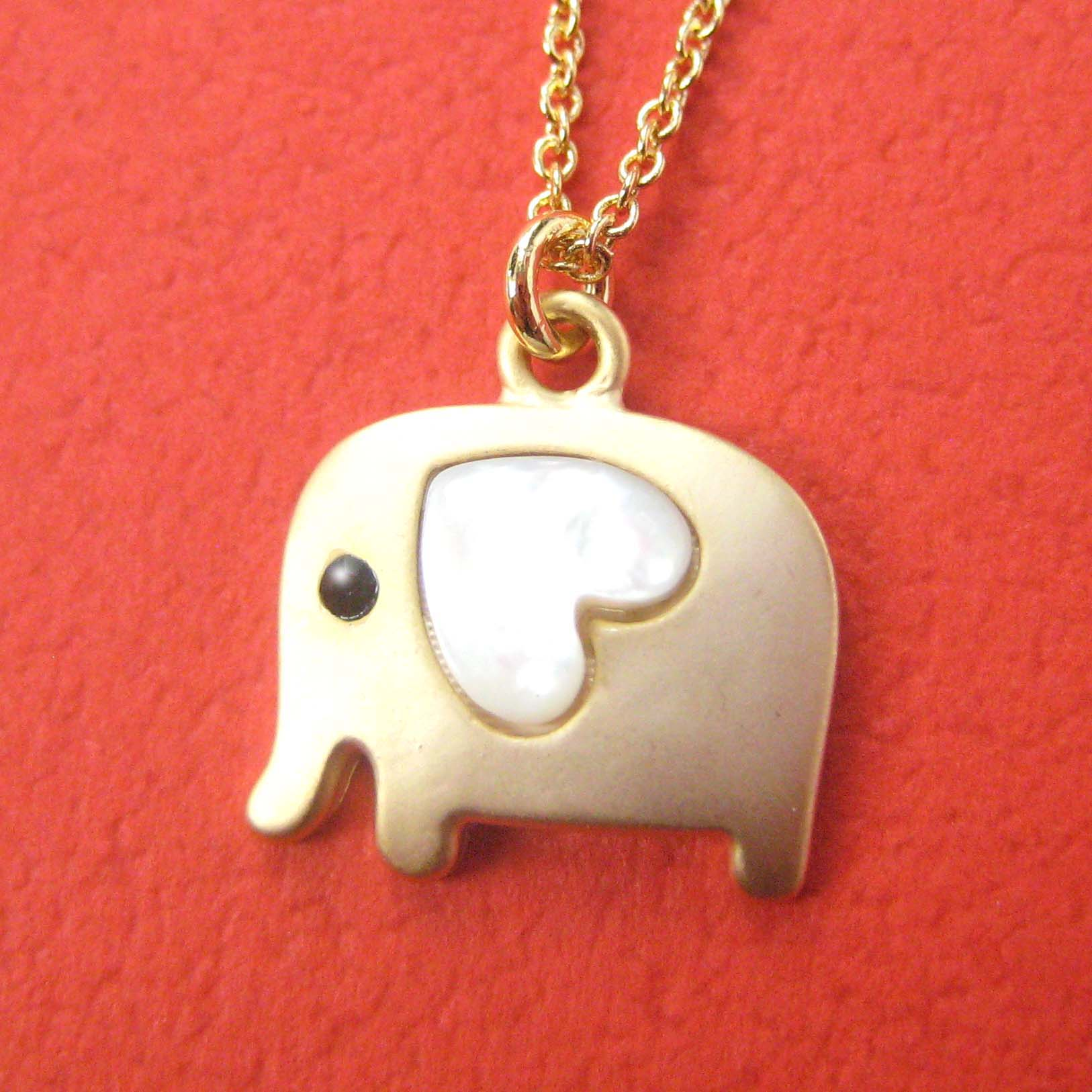 Small elephant animal necklace in gold with heart allergy free small elephant animal necklace in gold with heart allergy free thumbnail 1 aloadofball Images
