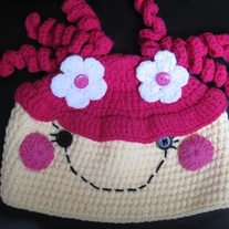 LalaLoopsy Doll Crochet Girls Winter Hat Cap Beanie Pink Hair