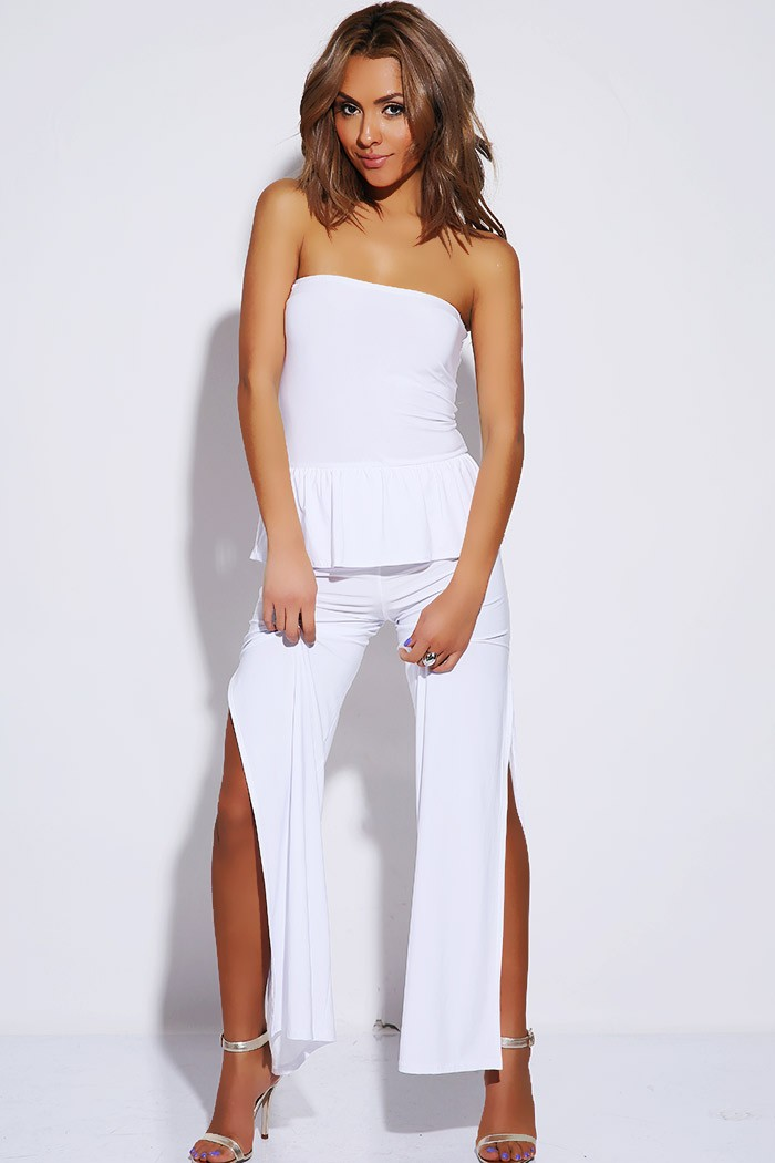 Peplum High Split Jumpsuit White 183 Sophisticates Closet