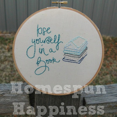 """lose yourself in a book"" - 7 in. hoop art"
