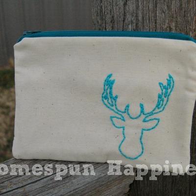 Just stitched deer head zippy