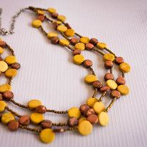 Mustard and Bronze Multistrand Wood Beads Necklace