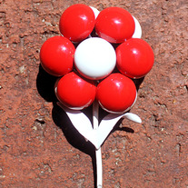 Vintage Brooch Pin - Cheerful Red and White Blossom