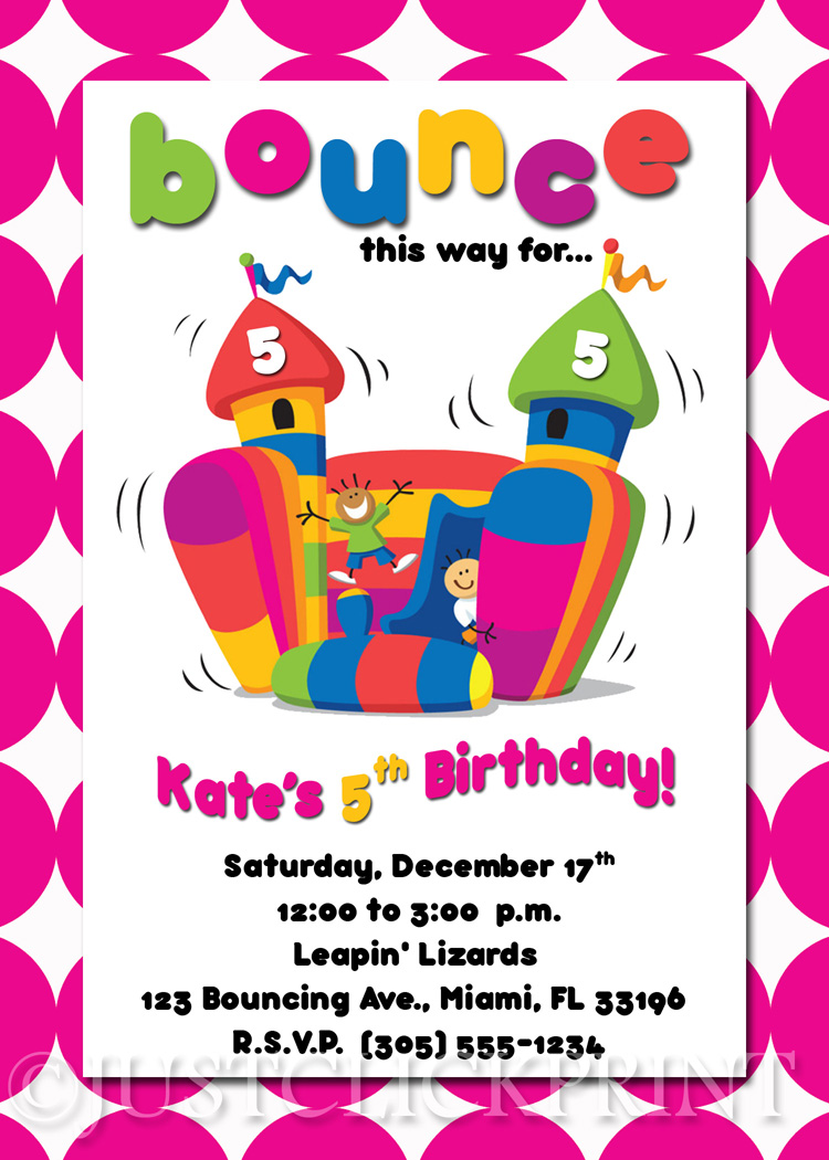 Bounce House Birthday Invitation Printable Just Click Print