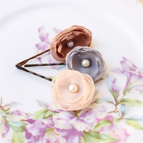 Neutral Color Palette - Set of 3 Flower Bobby Pins