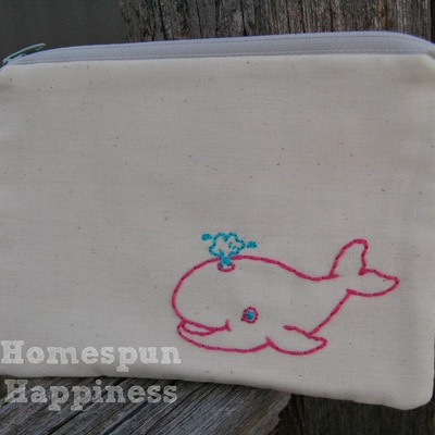 Just stitched whale zippy