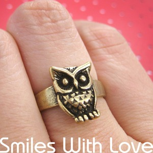 SALE Owl Animal Ring with Feather Detail in Bronze - Size 5.5 ONLY