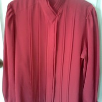 Christie & Jill Red Pleated Blouse Sz 14
