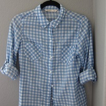 Blue Gingham Camp Shirt
