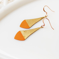 Tangerine Pointed Color Dipped Brass Earrings