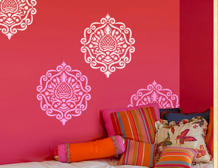 Moroccan damask modern designer allover pattern wall - Modern wall stencil designs ...