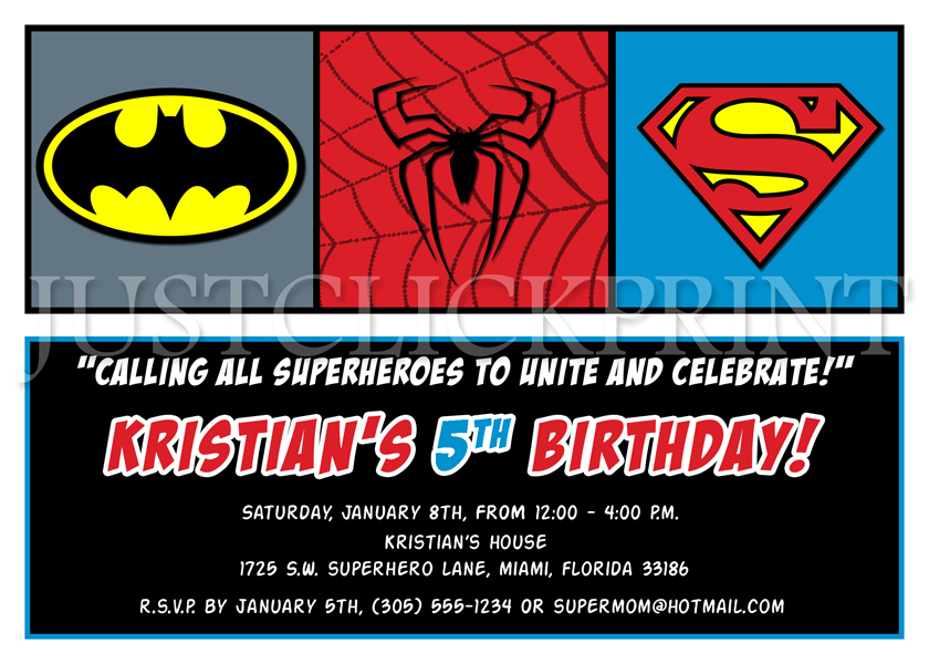 Superheroes Logos Batman Superman Spiderman Birthday Invitation Printable