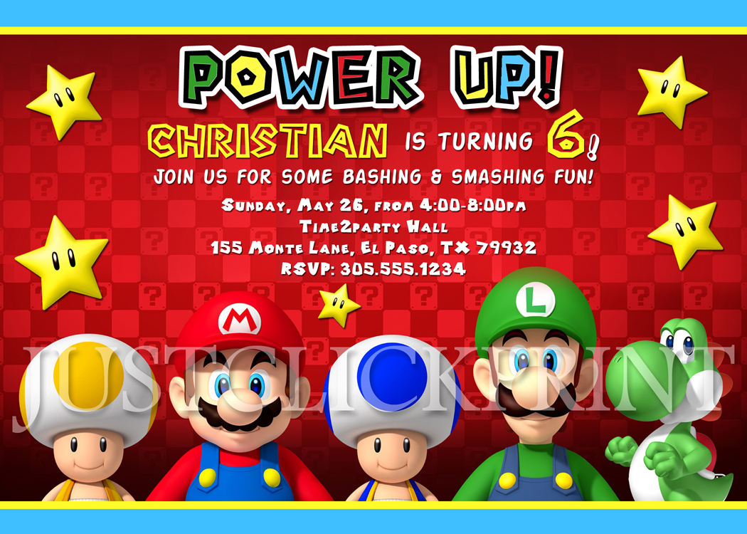Mario Brothers Birthday Invitation Printable UPRINT · Just Click ...