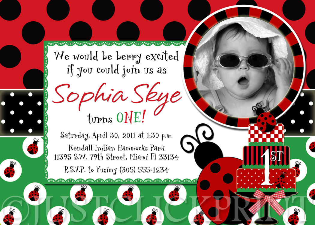 Ladybug Birthday Photo Invitation Printable UPRINT · Just Click ...
