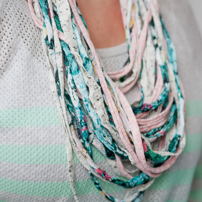 Upcylced noodle t-shirt scarf {teal/pink/oatmeal}