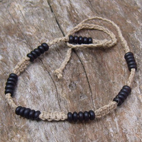 Macrame Natural Hemp Choker with Black Horn Beads