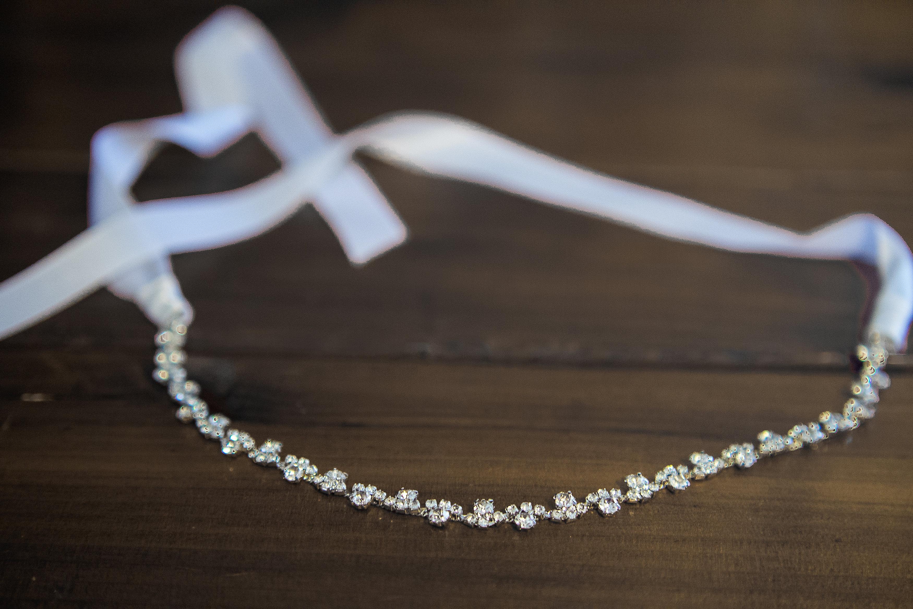wedding headband thin diamond bridal headband on white ivory ribbon